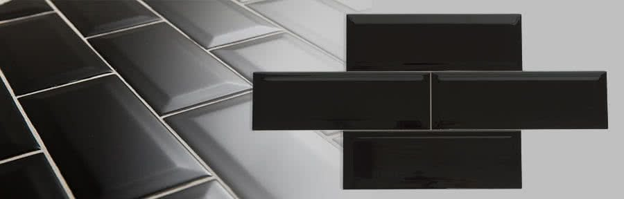Subway Tile 100 x 300mm High Gloss-Black
